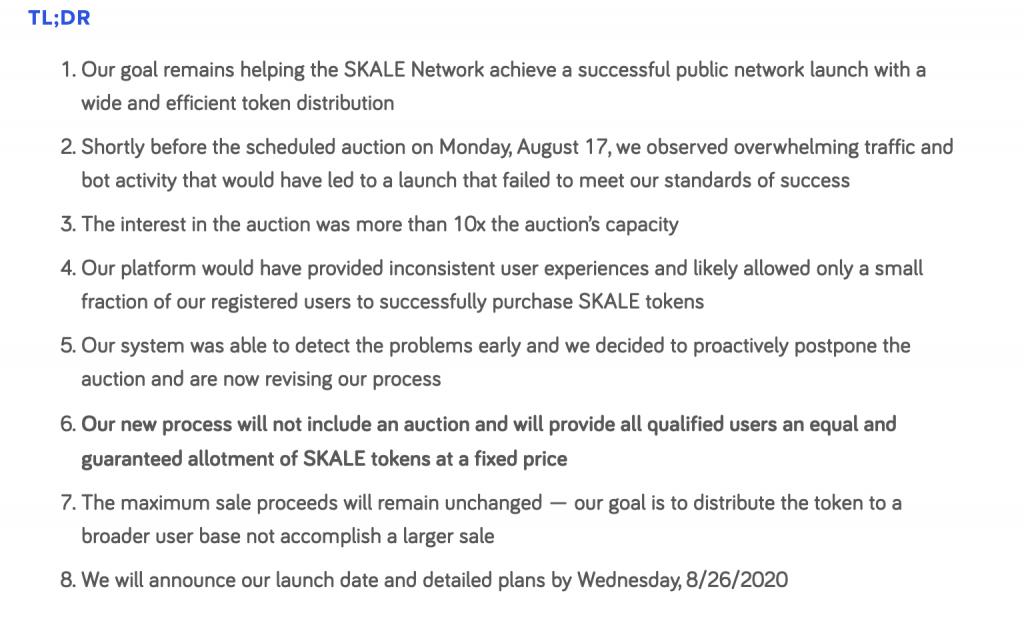 【快訊】Skale 將取消拍賣,新售賣方式更改爲合規用戶以固定價格均分代幣